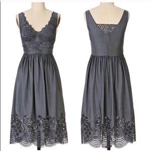 ANTHROPOLOGIE lil eyelet accent 100% silk dress